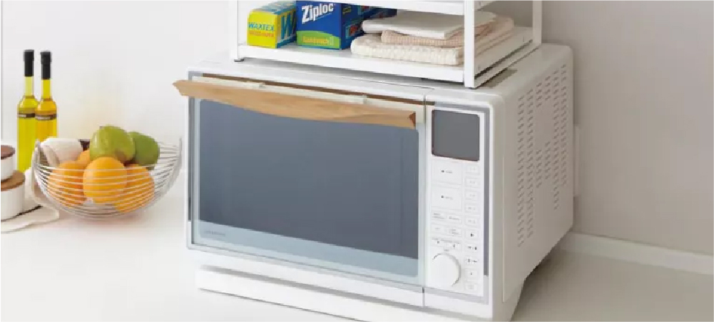 Use the top of microwave as storage